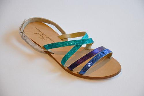 Sandales vertes multico